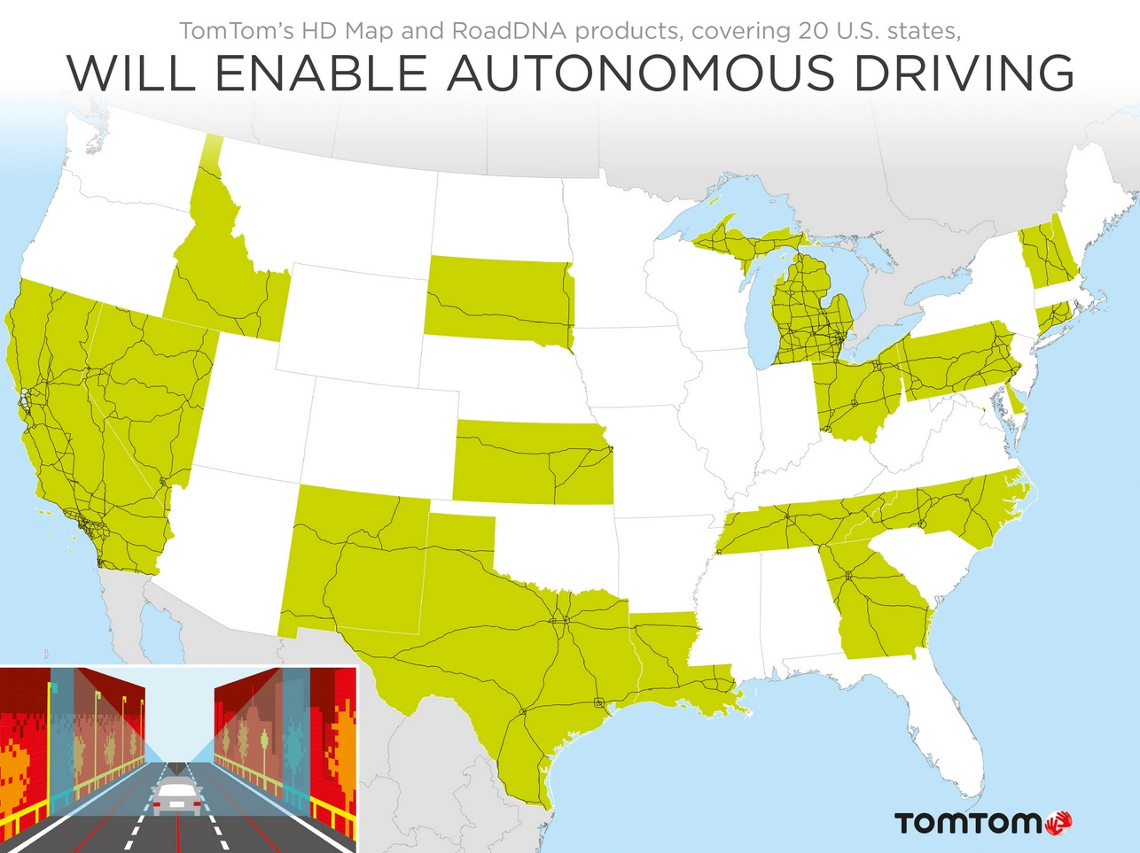 TomTom Expands Coverage Of Autonomous Driving Maps To US States - Driving map of us states